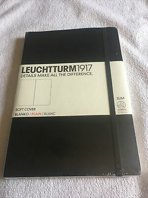 Leuchtturm1917 Notebook Medium A5 Plain Black Softcover Hardcover Book Free