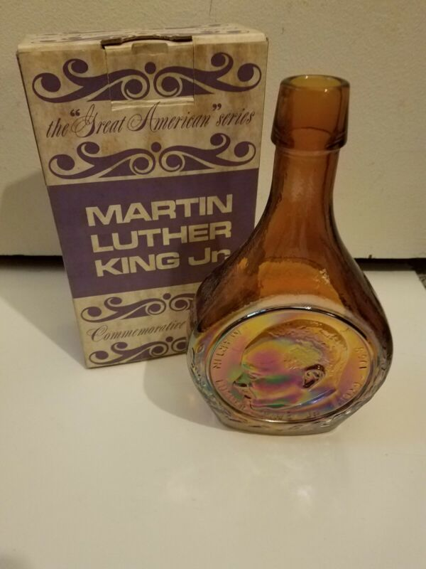 MARTIN LUTHER KING JR. COMMEMORATIVE DECANTER BY WHEATON GLASS AMBER CARNIVAL