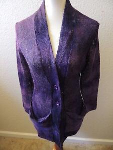 Women's ROBERT KITCHEN Canada Button Down Cardigan Sweater Purple Thin Knit L
