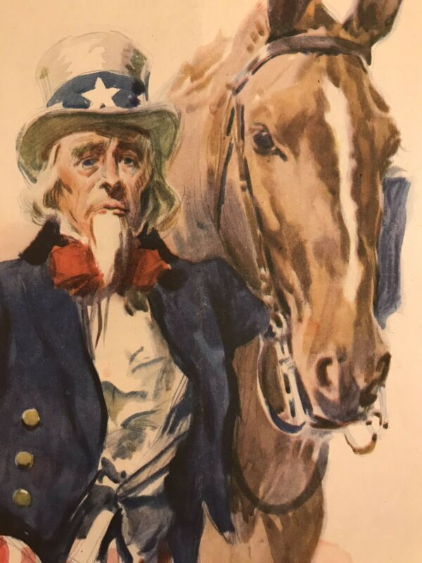 """WWI Cavalry Poster """"James Montgomery Flagg"""" LESLIE"""