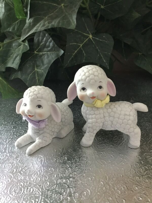 VTG Enesco Ceramic Lamb Sheep Figurines Fabric Bow