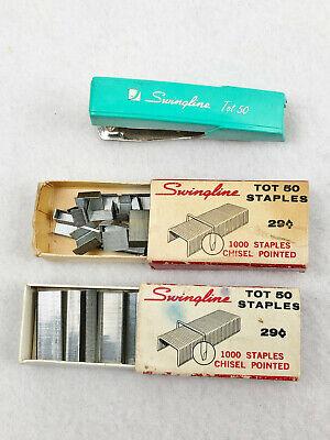 Vintage Swingline Tot 50 Aqua Blue Stapler 2 Boxes Of Staples - 12 Full
