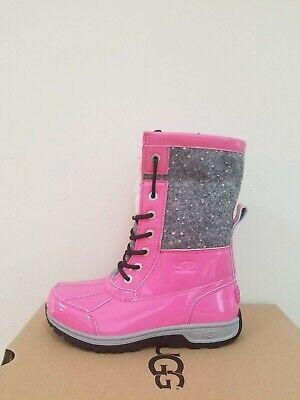 UGG Australia Kinder Butte II Lack Sparkle Wasserfest Stiefel Größe 3 Neu IN Box