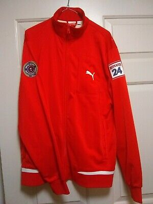 Puma Jacket Size Large Sport Lifestyle Men's Red Zip Up Sweater 2 patches