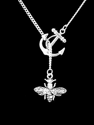 Queen Bee Necklace Animal Insect Lariat Mom Mother's Day Gift Jewelry Anchor
