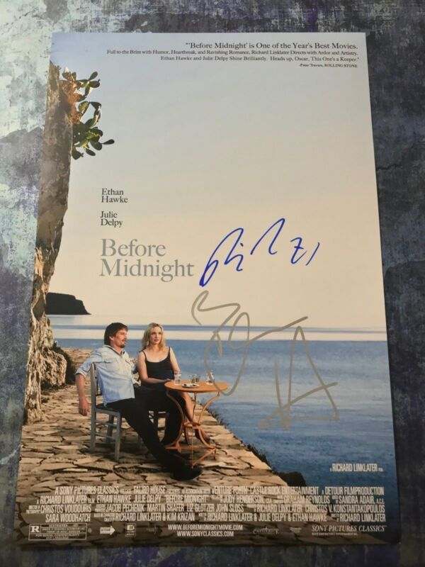 GFA Ethan Hawke & Linklater * BEFORE MIDNIGHT * Signed 12x18 Photo Poster COA