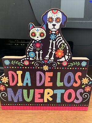 Dia De Los Muertos-cat & Dog Wood Table Decor $2--brand New Table Topper