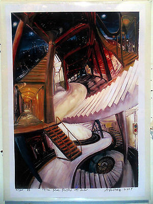 ORIGINAL PRINT Arthur Robins Oil Painting Art NYC Artist subway cityscape street