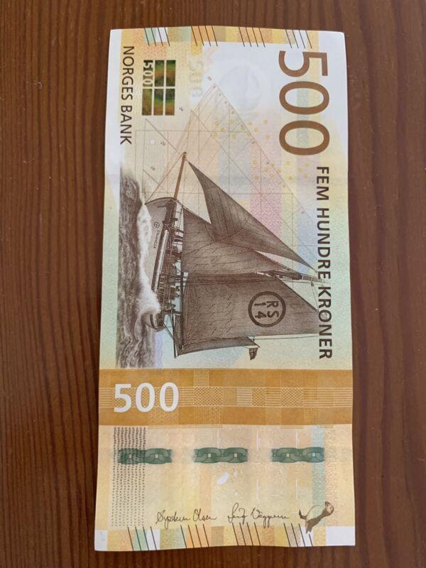 500 Norway Kroner Banknote. Norwegian 500 Kronor Banknotes. Unc Note. 500 Bill