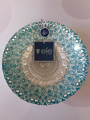 EFE GLASS TURKISH HAND MADE, TEAL COLOR BOWL 100% GENUINE SILVER
