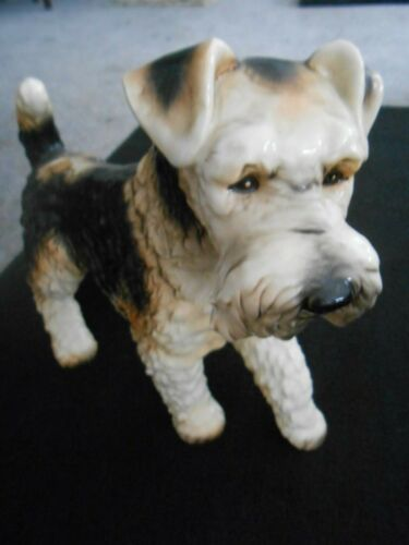 """Gorgeous Vintage 12"""" Goebel Wire Haired Fox Terrier Figurine from West Germany"""