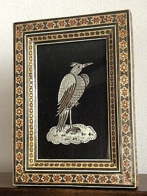 Middle Eastern Wooden Marquetry Khatam Frame Engraved Metal Bird