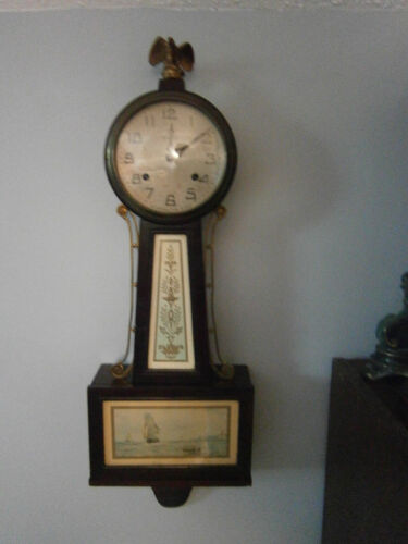 "Nice New Haven Antique Maritime Scene 29"" Banjo Clock - Runs & Strike Fine"