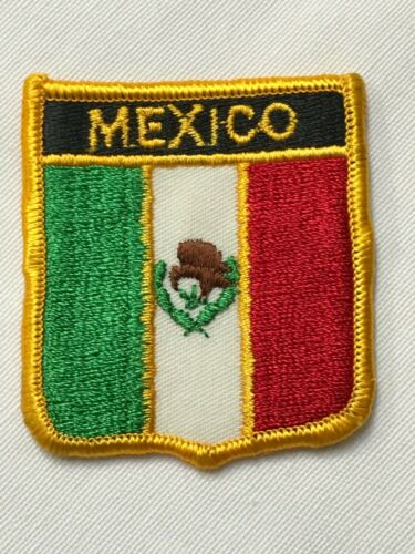 """Vintage Patch Mexico Shield w/ Mexican Flag Embroidered Coat Of Arms 2.5"""" x 2.5"""""""