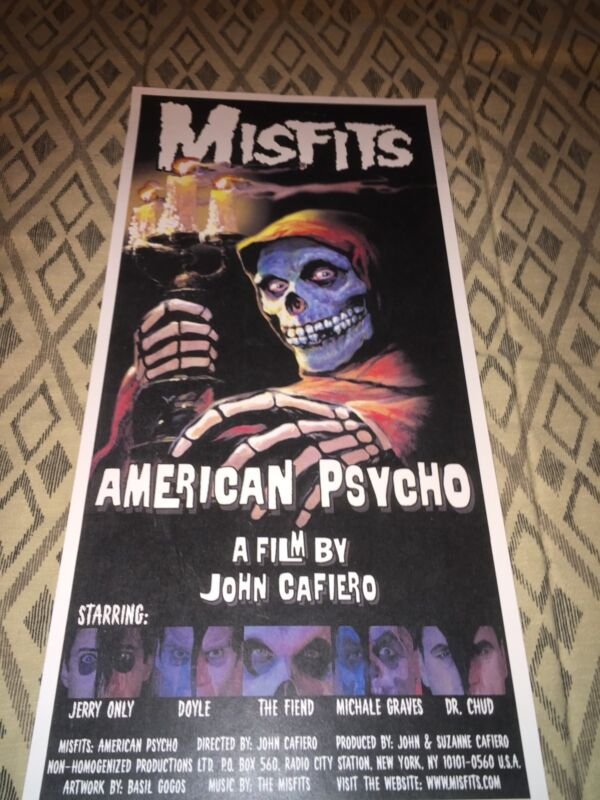 """American Psycho 1998  MISFITS Poster  RARE""""  Danzig Michale Graves Monster Party"""