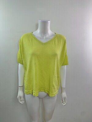 Eileen Fisher Women's Size XL Short Sleeve V Neck Green Organic Linen Sweater