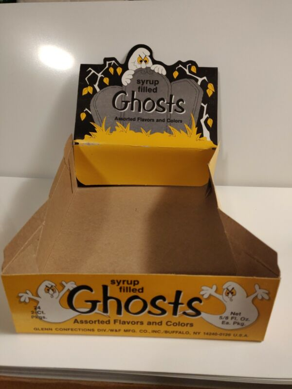 Vintage Halloween Ghost syrup filled Glenn Confections Box Gum wax candy