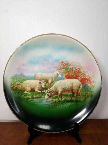 ANTIQUE RK BECK SHEEP CABINET PLATE - GOLD TRIM