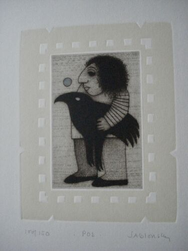 """Carol Jablonsky lithograph, limited ed. 86/150 titled ,""""Poe"""" ex. cond. listed"""
