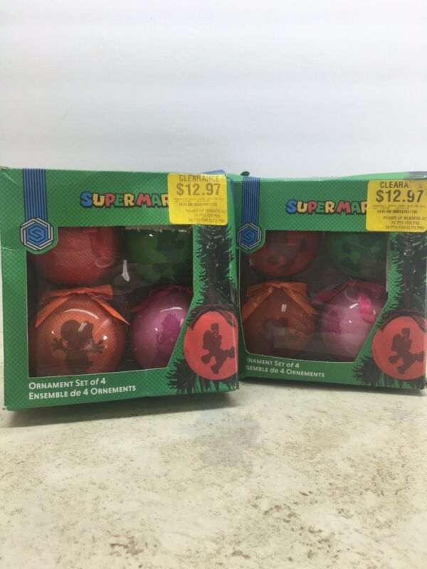 Nintendo Super Mario Christmas Ornaments -  Lot Of Two Packages, 4 Ornaments Ea.