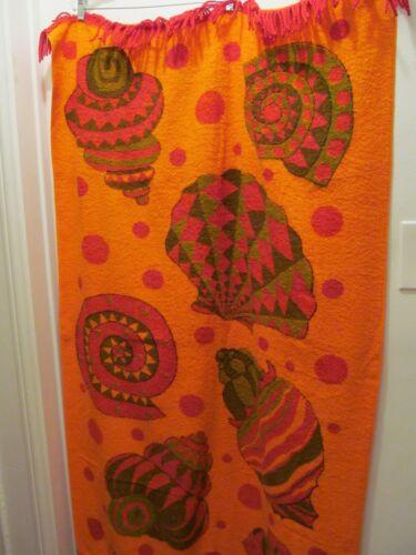 Vintage NEW Retro Beach Towel w Fringe T Gilbert Sea Shells Orange Red Green