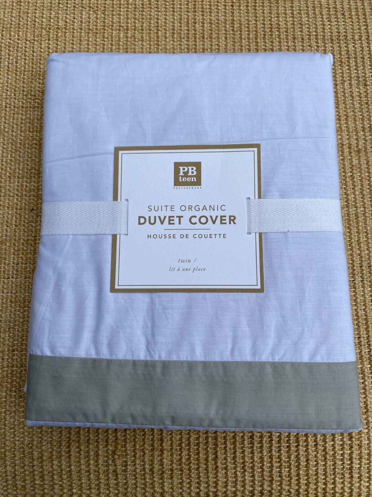 NIP Pottery Barn PB Teen Suite Organic DUVET COVER Ribbon Light Gray White TWIN  - $24.95