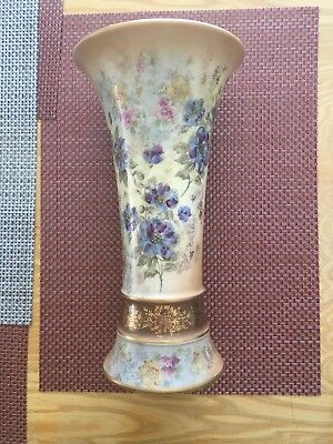 Asian Blue Floral Vase With Gold Highlights