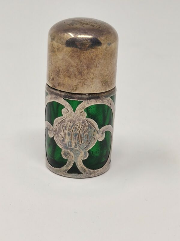 Victorian Gorham Sterling Silver Overlay Emerald Green Perfume Bottle