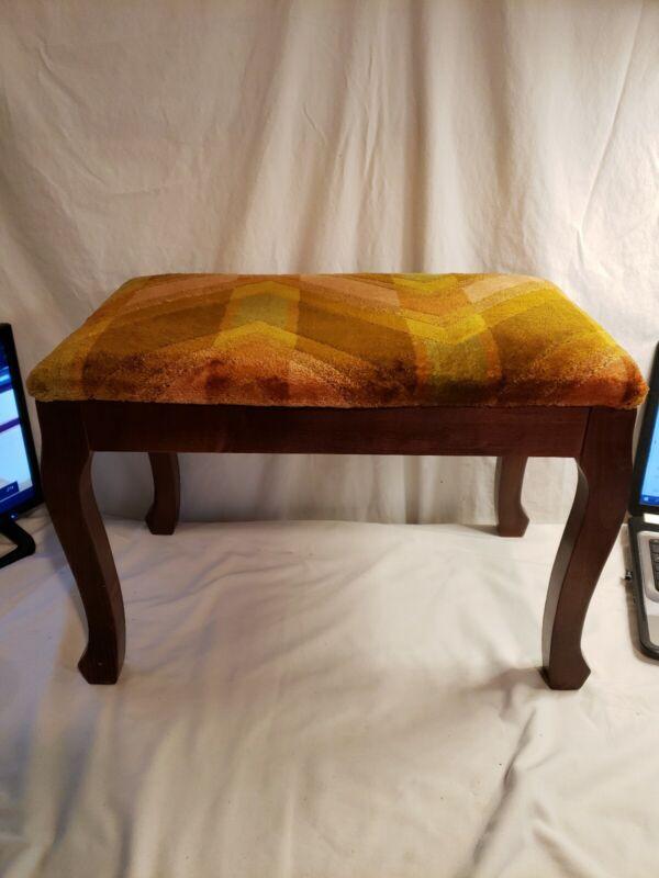 Vintage Tapestry Footstool, Curved Wood Legs