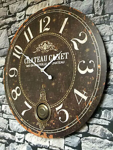 EXTRA LARGE 60cm ANTIQUE FRENCH VINTAGE STYLE WALL CLOCK SHABBY CHIC NEW BOXED