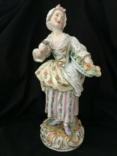 ANTIQUE VION & BAURY OLD PARIS UNMARKED FRENCH PORCELAIN WOMAN W BASKET FIGURINE