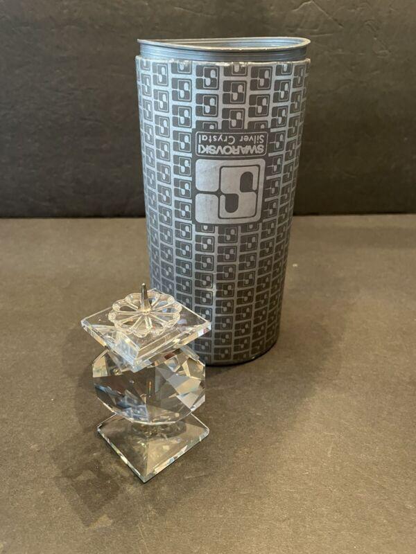 Vintage Swarovski Crystal Taper Candle Stick Holder 7600 NR 114 Retired