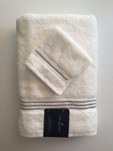 Fieldcrest Microcotton Spa BATH SHEET & WASH CLOTH Set-WHITE