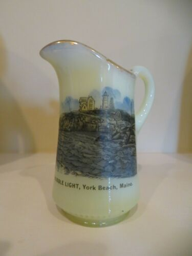 CUSTARD GLASS pitcher NUBBLE LIGHT YORK BEACH MAINE Me Lighthouse NICE Color Vie