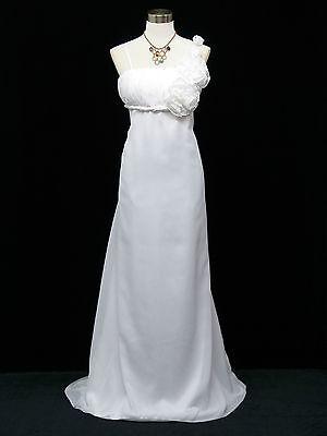 Cherlone Chiffon White Maternity Ballgown Wedding/Evening Bridesmaid Dress 14-16