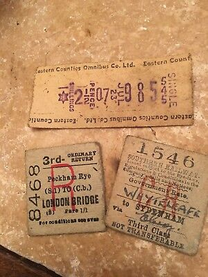 Vintage Bus And Train Tickets