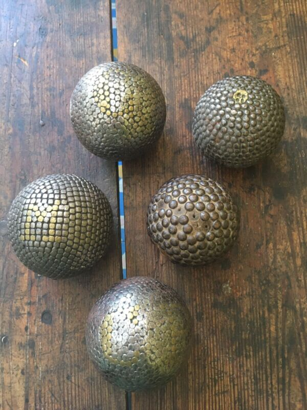 Antique Vintage Victorian Metal Stud Carpet Balls Display Lot of 5