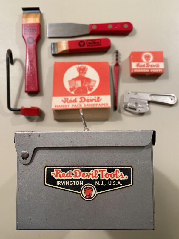 Vintage 1940's Red Devil Painter's Surface Prep Kit Plus Sandpaper RARE!   1B