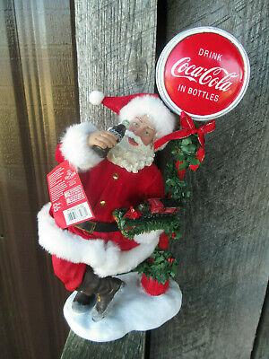 Coca-Cola Kurt S. Adler Fabriche Santa by Lamp Post Sign LED Light Up Christmas