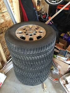 """Set of 4, 17"""" rims with studded rubber, Chevy Silverado 3500hd"""