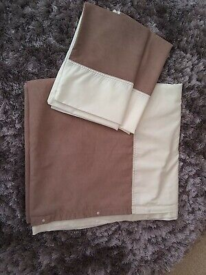HORROCKSES DOUBLE DUVET COVER SET CREAM WITH BROWN FAUX SUEDE