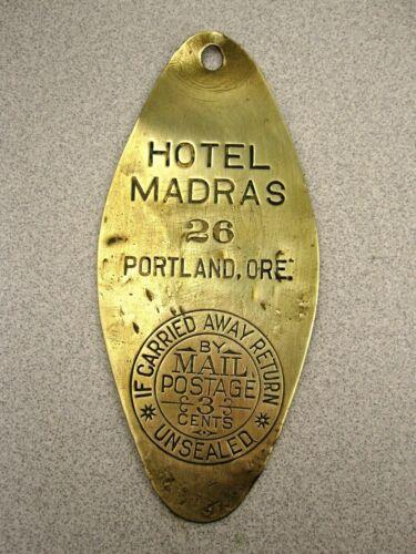 "Vintage Portland OR ""HOTEL MADRAS"" Brass Room Key Fob Badge RaRe Antique History"