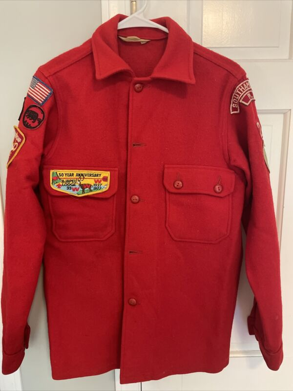 Vintage 1970s Boy Scouts Red Wool Jacket Eagle Scout Order Arrow