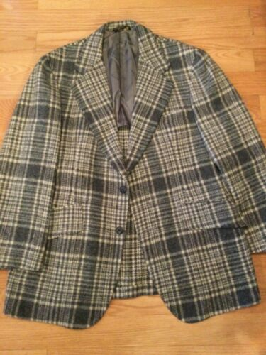 Vintage JOHN WEITZ Gray White PLAID Double vent 2-Button Wool SPORT COAT sz 44R