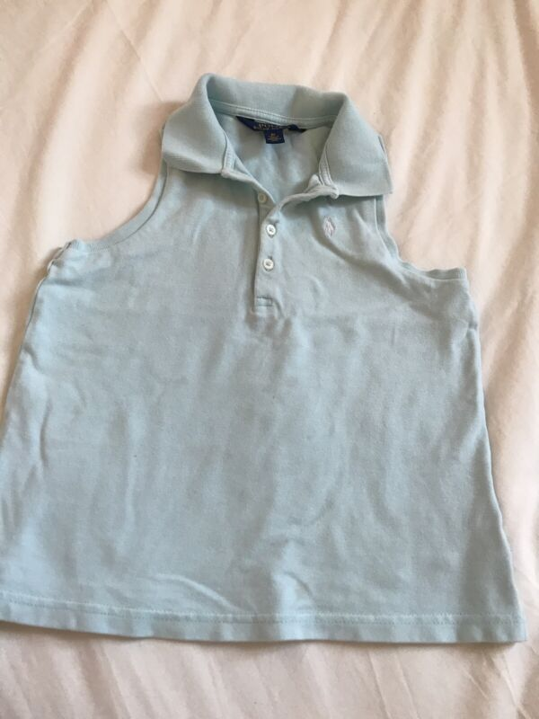 Ralph Lauren Girl's 6x Blue Sleeveless Top Shirt Polo See Pictures