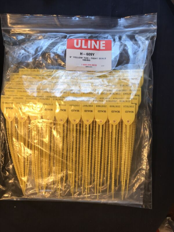 "Uline H-609Y 9"" Yellow Tug-Tight Drum Seals 100 Count Sealed Bags"