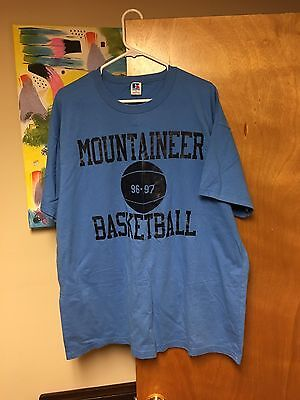 Vintage WEST VIRGINIA Basketball T-shirt MOUNTAINEERS Blue XL 96-97 Big East EUC