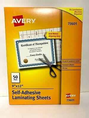 Avery 73601 Self-adhesive Laminating Sheets 9 X 12 Box Of 50