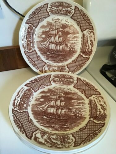 "4*Alfred Meakin China10.5"" Dinner Plate Fair Winds Friendship Of Salem Ship MINT"