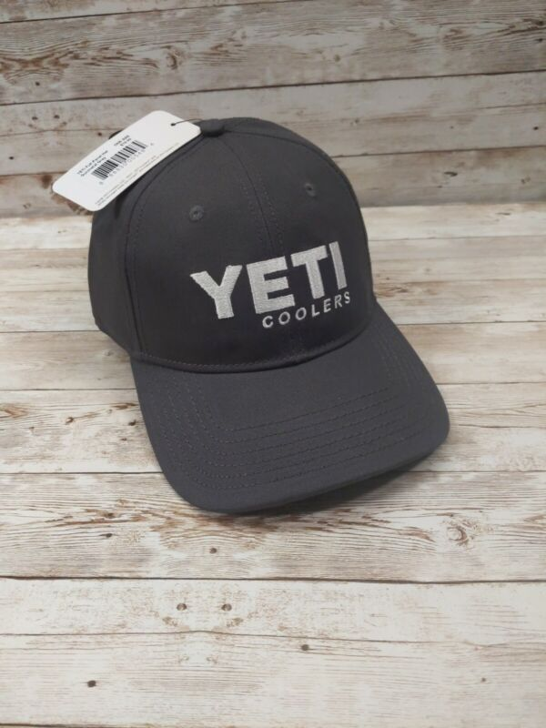 YETI COOLERS FULL PANEL HAT CAP GUNMETAL GRAY WITH EMBROIDERED LOGO NWT